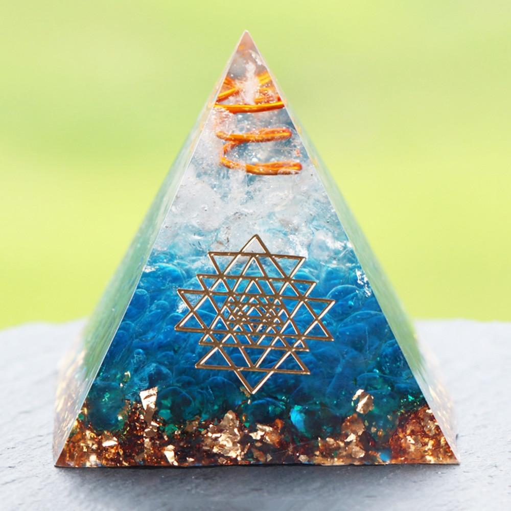 Energy Orgonite Pyramid Blue Glass Gravel Healing Crystals Reiki Chakra Orgone Multiplier Pyramids Fengshui Home Decor